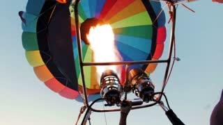 hot air baloon double burner firing in air