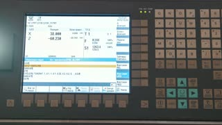 Industrial remote control panel of metal working manufactory, extremely close up