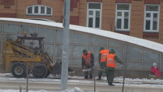 Kazan, Russia 2 december 2016, Public janitors cleaning street, cold winter