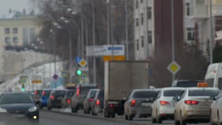 KAZAN, RUSSIA, 2 DECEMBER 2016: road traffic in center of city , time-lapse
