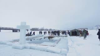 KAZAN, RUSSIA - JANUARY 19, 2017: Jesus Christ's baptism holiday on kazanka river. Traditional winter bathing in center of city