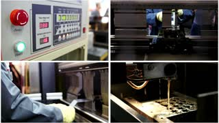 Laser processing of metal in industrial factory - cutting of metal