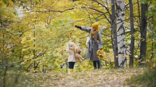 Little daughter with her mommy plays with yellow leaves in autumn park