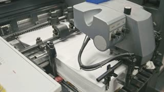 Machine working in printing house, polygraph industry