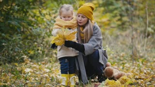 Mother and her daughter little girl playing in a autumn park - mom gives child maple leaf
