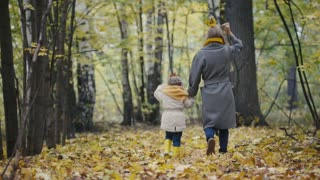 Mother and her daughter little girl playing in a autumn park - mommy and child have fun and walking