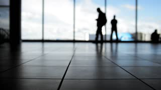 Passengers follow to boarding with baggage in front of window in airport, silhouette