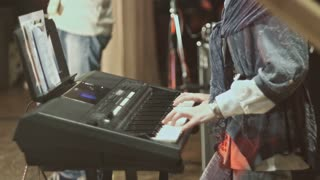 piano synthesizer at rock consert
