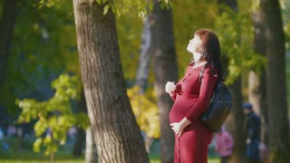 Portrait of young pregnant woman smiling - standing at autumn park, close up
