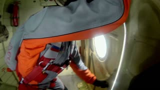 POV man jumping with a parachute