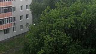 Powerful rain at East European city 4k