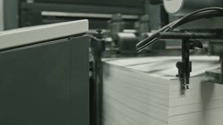 Printing process - feeding sheets of paper, polygraph industry