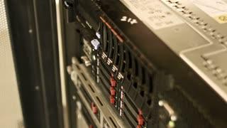 server stand, communication equipment close up