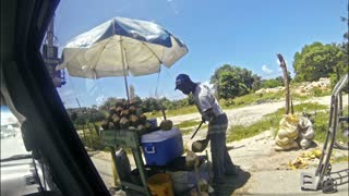 Street vendor prepares a cocktail from a coconut, Dominican Republic, La Romana, 21 may 2016