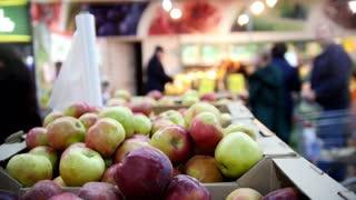 Supermarket - apples in fruit Department