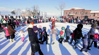 Sviyagsk, Russia - 26 February 2017: The pancake week - Russian ethnical carnival - Maslennica - Shrovetide - adults and children dances before the burning of effigies of winter