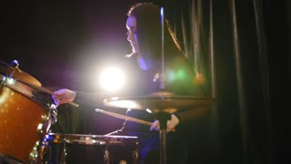 Teen rock music - gothic girl percussion drummer, slider