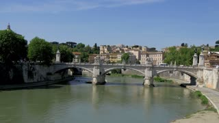 Tiber River Sant Angelo Sunny Day, Rome, Italy