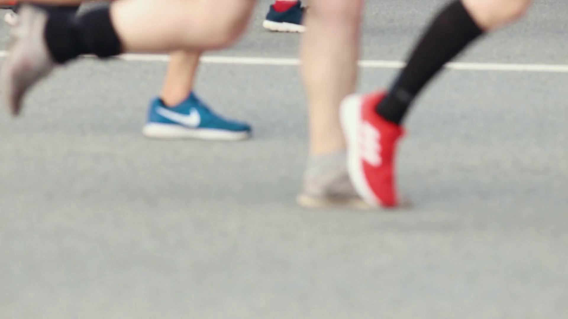 05-05-2019 RUSSIA, KAZAN: A running marathon. Feet of the ...