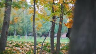 Active girls running in the autumn park