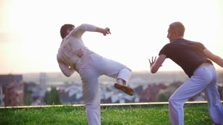 Athletic men engaged in martial art of capoeira on the grass against the beautiful summer sunset