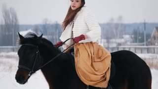 Attractive long haired brunette in a dress on a horse
