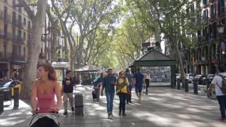 Barcelona, Spain - September 2018: Crowd Of People Walking On La Rambla Central Street In Barcelona City.