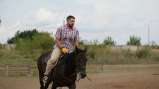 Bearded man is riding on horse - hippodrome riding lesson, slow-motion