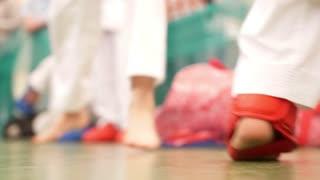 Boy on the karate training, boy's feet