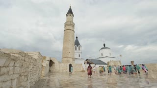 Bulgar, Tatarstan, Russia, 19 july 2017, Meeting of tourists at the facility under the protection of UNESCO - the Cathedral Mosque