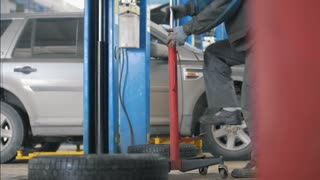 Car auto service working - mechanic under the car