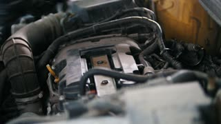 Car preparing for repairing - garage mechanical workshop, small business