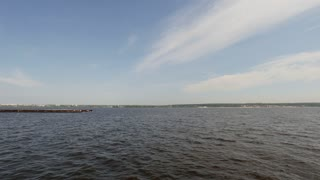 Cargo ships on volga river