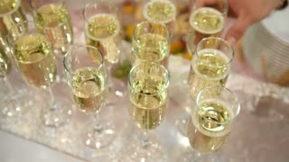 Catering on event - glasses of champagne on the table