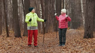 Elderly woman in autumn park doing warm up before nordic walking among yellow leaves