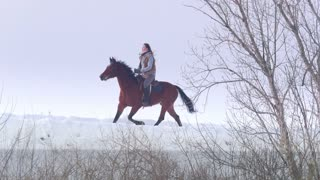 Equestrian sport - rider woman on horse walking in snowy outdoor