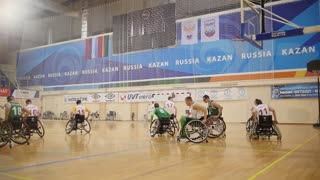 February, 2018 - Kazan, Russia - Disabled sportsmen plays wheelchair basketball, slow-motion