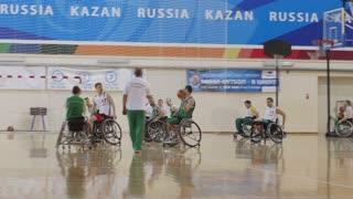 February, 2018 - Kazan, Russia - Disabled sportsmen plays wheelchair basketball
