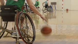 February, 2018 - Kazan, Russia - Training of disabled sportsmen - men is playing wheelchair basketball