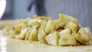 Fresh fruits for apple strudel - products for bakery on dough