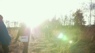 Group of young tourists goes hiking in the woods at the sunset