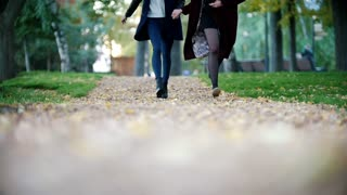 Happy girls run holding hands towards the camera. Autumn. No face shown
