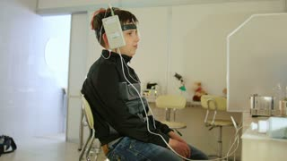 Healthcare children's diagnostic - eye-brain researching for teenager boy