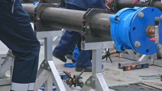 Industrial metallic construction of water supply system