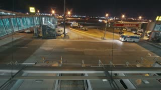 Istanbul, Turkey October 13, 2017: Istanbul Ataturk Airport time-lapse - airplane preparing for take-off