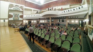 Kazan, Russia - 14 april 2017 - Saydashev State Great Concert Hall - spectators come into the audience, took the seats sit - time-lapse