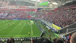 Kazan, Russia - 18 june 2017, FIFA Confederations Cup 2017 - Kazan Arena stadium - players play football