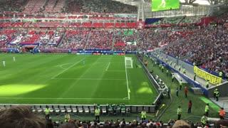Kazan, Russia - 18 june 2017, FIFA Confederations Cup 2017 - Kazan Arena stadium - wave of football fans spectators