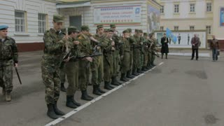 Kazan - Russia, 22 april 2014: Cadets of the Kazan Suvorov military school - soldiers checking weapon