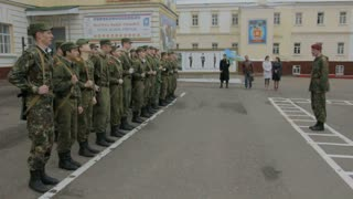 Kazan - Russia, 22 april 2014: Cadets of the Kazan Suvorov military school - soldiers marching on a mission